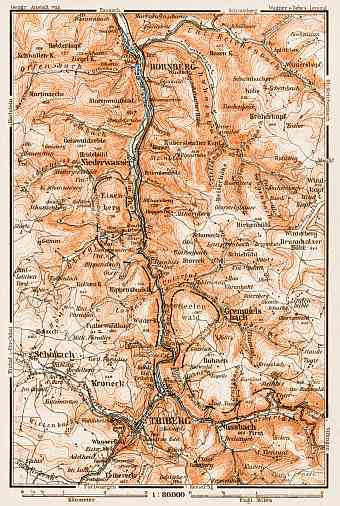 Schwarzwald (the Black Forest). The Black Forest Railway (Schwarzwaldbahn, Baden) region map, 1909