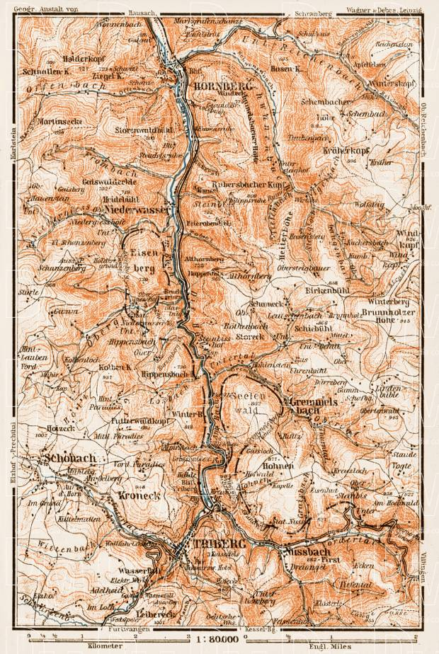 Schwarzwald (the Black Forest). The Black Forest Railway (Schwarzwaldbahn, Baden) region map, 1909. Use the zooming tool to explore in higher level of detail. Obtain as a quality print or high resolution image