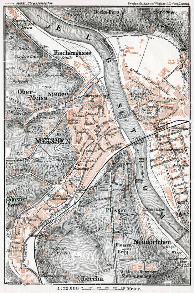 Meissen (Meißen) city map, 1911. Use the zooming tool to explore in higher level of detail. Obtain as a quality print or high resolution image