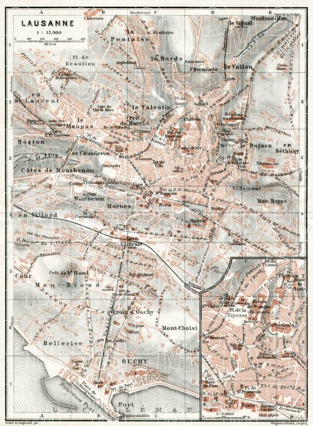 Old map of Lausanne in 1909 Buy vintage map replica poster print or