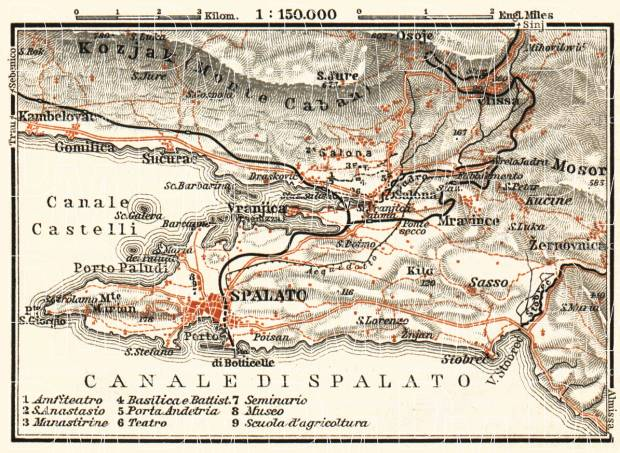 Old map of the vicinity of Split in 1911 Buy vintage map replica