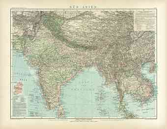 Southern Asia Map, 1905