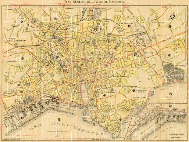 Marseille city map, 1924. Use the zooming tool to explore in higher level of detail. Obtain as a quality print or high resolution image