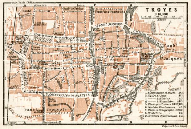 Old map of Troyes in 1909 Buy vintage map replica poster print or