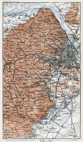 Map of the west environs of Vienna (Wien) from Klosterneuburg to Baden, 1910