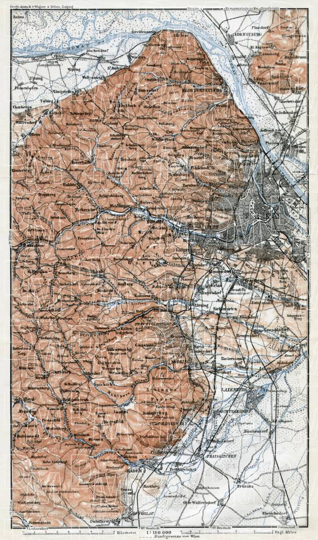 Map of the west environs of Vienna (Wien) from Klosterneuburg to Baden, 1910. Use the zooming tool to explore in higher level of detail. Obtain as a quality print or high resolution image