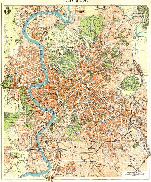 Old map of Rome (Roma) in 1933. Buy vintage map replica poster print Printable Map Of Rome on