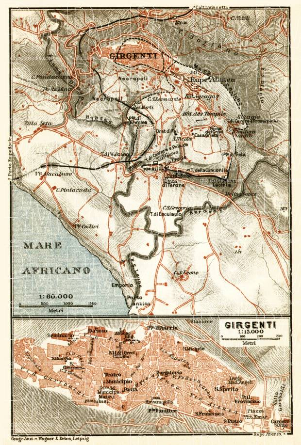 Agrigento (Girgenti) town and environs map, 1912. Use the zooming tool to explore in higher level of detail. Obtain as a quality print or high resolution image