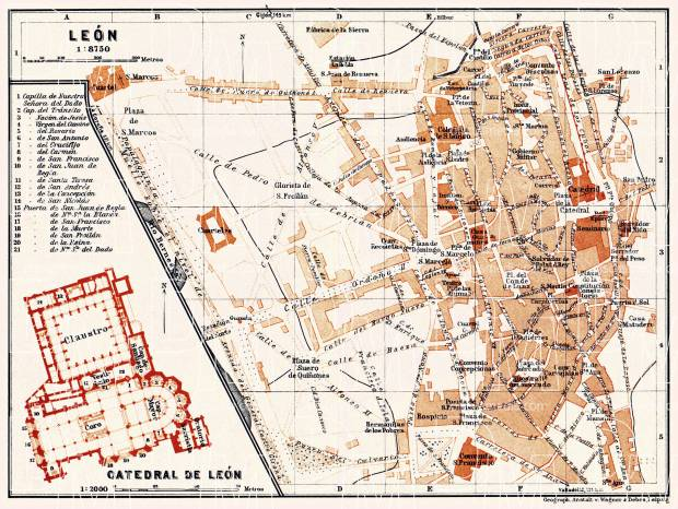 León city map, 1929. Use the zooming tool to explore in higher level of detail. Obtain as a quality print or high resolution image