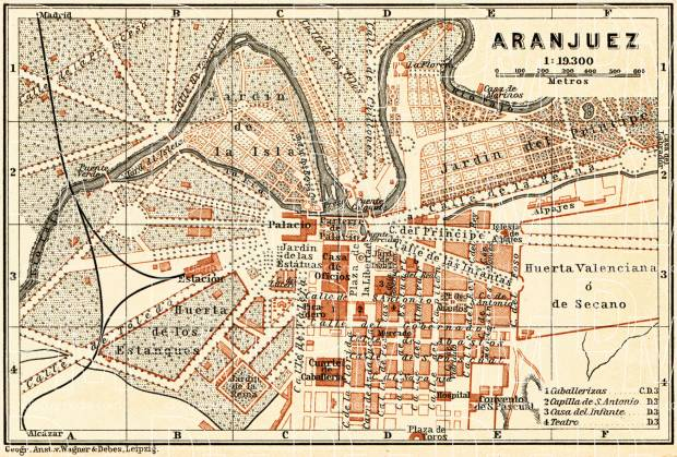 Aranjuez city map, 1899. Use the zooming tool to explore in higher level of detail. Obtain as a quality print or high resolution image