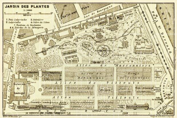 Jardin des Plantes - Botanical Garden map, 1903. Use the zooming tool to explore in higher level of detail. Obtain as a quality print or high resolution image