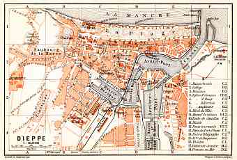 Dieppe city map, 1910