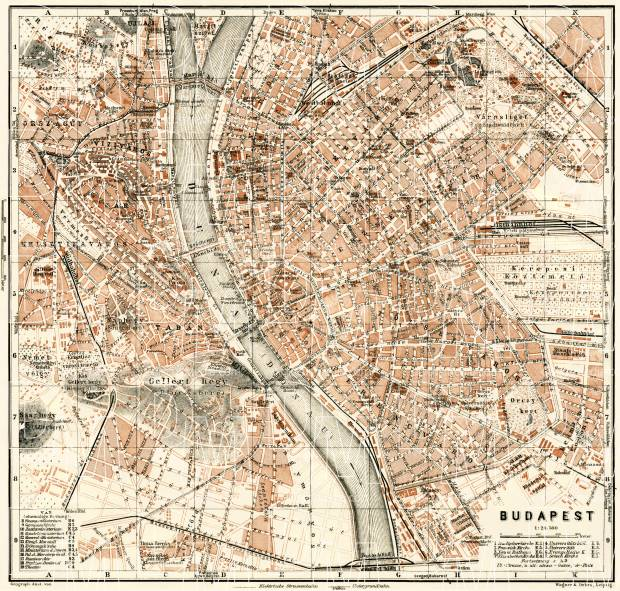 Budapest city map, 1929. Use the zooming tool to explore in higher level of detail. Obtain as a quality print or high resolution image