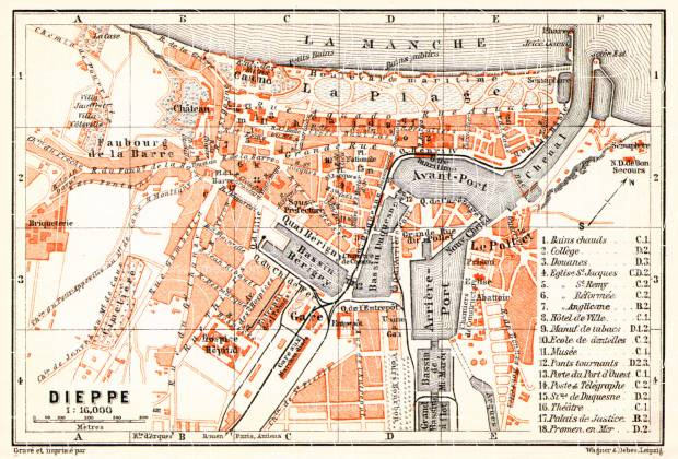 Dieppe city map, 1910. Use the zooming tool to explore in higher level of detail. Obtain as a quality print or high resolution image