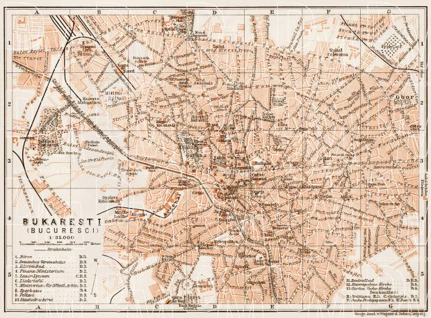 Bucharest (Bucureşti) city map, 1914. Use the zooming tool to explore in higher level of detail. Obtain as a quality print or high resolution image