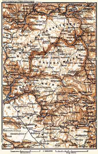 Causses Mountains map, 1885