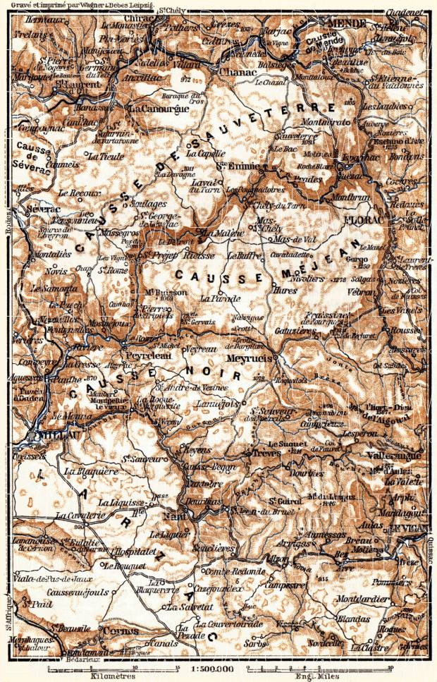 Causses Mountains map, 1885. Use the zooming tool to explore in higher level of detail. Obtain as a quality print or high resolution image