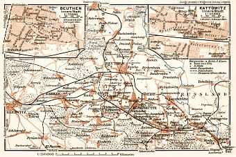 Katowice, Bytom and environs map, 1911