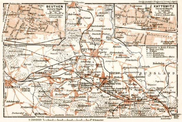 Katowice, Bytom and environs map, 1911. Use the zooming tool to explore in higher level of detail. Obtain as a quality print or high resolution image