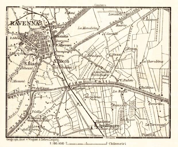 Ravenna and environs map, 1898. Use the zooming tool to explore in higher level of detail. Obtain as a quality print or high resolution image