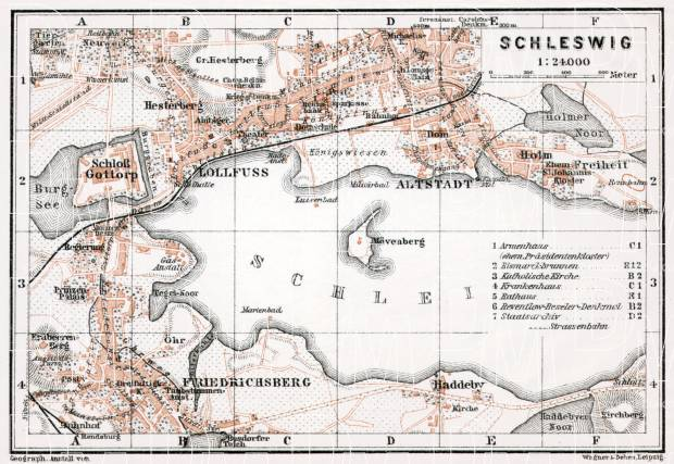 Schleswig town plan, 1911. Use the zooming tool to explore in higher level of detail. Obtain as a quality print or high resolution image