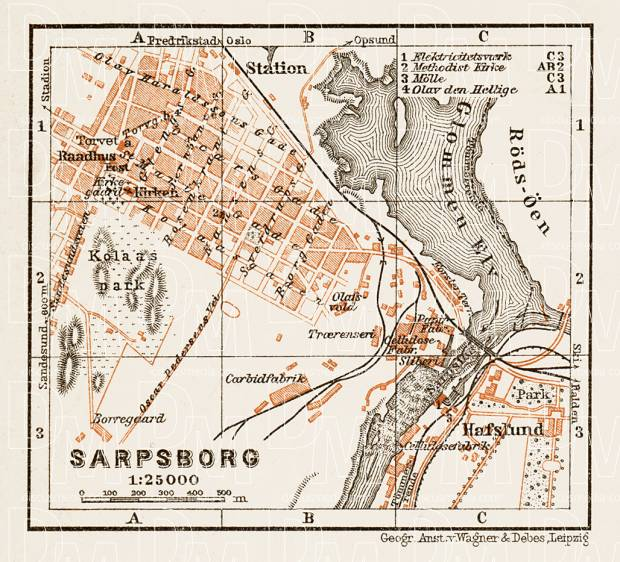 Sarpsborg city map, 1931. Use the zooming tool to explore in higher level of detail. Obtain as a quality print or high resolution image