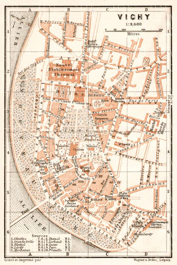 Vichy city map, 1902. Use the zooming tool to explore in higher level of detail. Obtain as a quality print or high resolution image