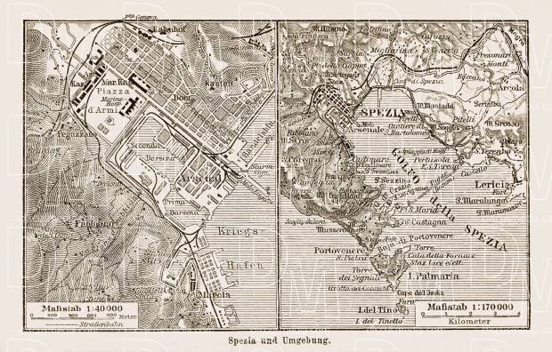 Spezia city map, 1913. Use the zooming tool to explore in higher level of detail. Obtain as a quality print or high resolution image
