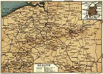 Railway map of Belgium, 1900