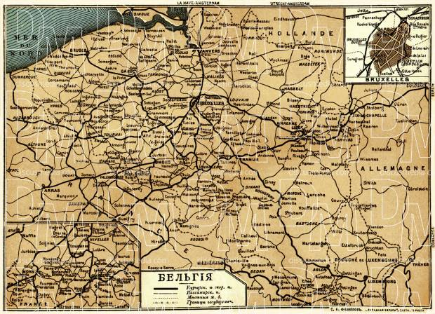 Railway map of Belgium, 1900. Use the zooming tool to explore in higher level of detail. Obtain as a quality print or high resolution image