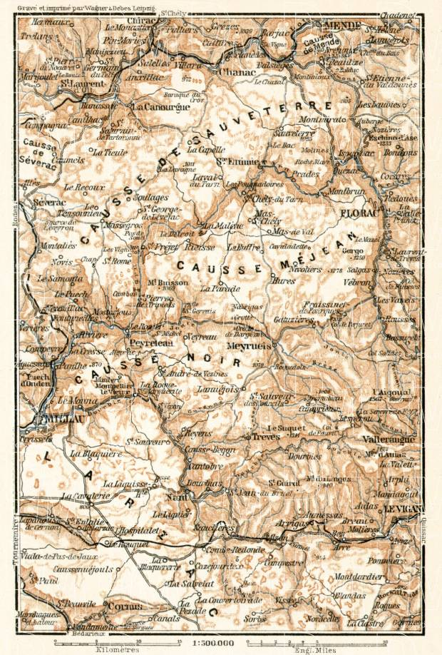 Causses Mountains map, 1902. Use the zooming tool to explore in higher level of detail. Obtain as a quality print or high resolution image