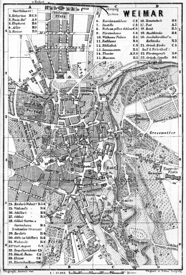 Weimar city map, 1887. Use the zooming tool to explore in higher level of detail. Obtain as a quality print or high resolution image