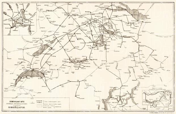 Switzerland, railway and water connections scheme (legend in Russian), 1903. Use the zooming tool to explore in higher level of detail. Obtain as a quality print or high resolution image
