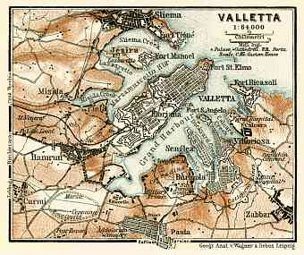Valletta environs map, 1929