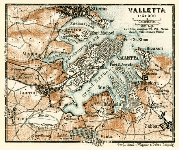 Old map of Valletta vicinity in 1929 Buy vintage map replica poster