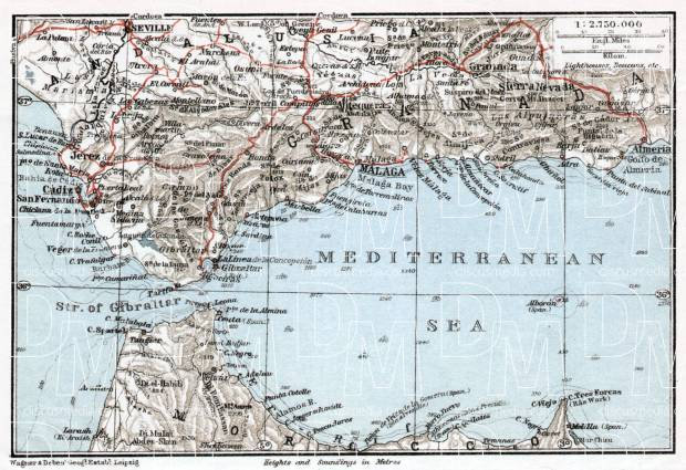 Western Mediterranean map, 1911. Use the zooming tool to explore in higher level of detail. Obtain as a quality print or high resolution image