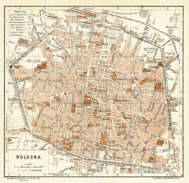 Bologna On Map Of Italy.Bologna City Map 1929