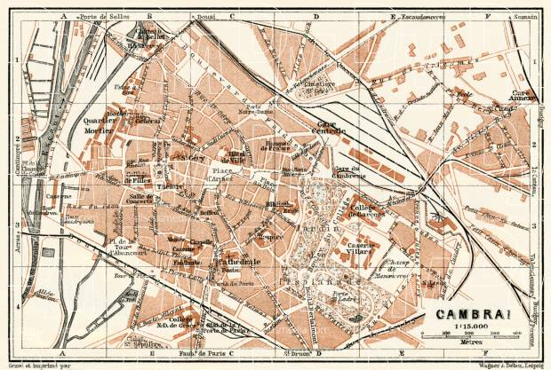 Cambrai city map, 1913. Use the zooming tool to explore in higher level of detail. Obtain as a quality print or high resolution image