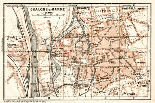 Châlons-sur-Marne (Châlons-en-Champagne) city map, 1909. Use the zooming tool to explore in higher level of detail. Obtain as a quality print or high resolution image