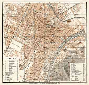 Turin (Torino) city map, 1908