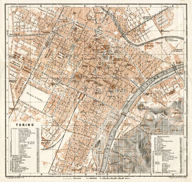 Old Map Of Turin Torino In 1908 Buy Vintage Map Replica Poster