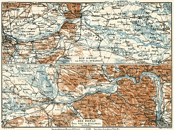 Map of the Danube River course from Vienna to Budapest, 1929