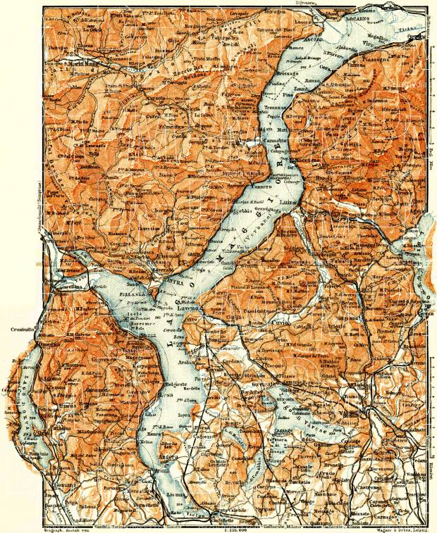 Maggiore Lake and d´Orta Lake nearer environs map, 1908. Use the zooming tool to explore in higher level of detail. Obtain as a quality print or high resolution image