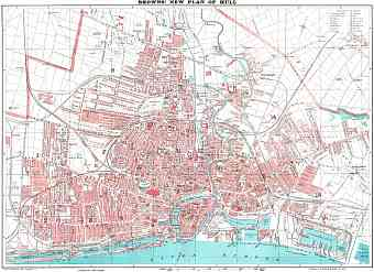 Hull (Kingston upon), city map (brown´s New Plan of Hull), 1923
