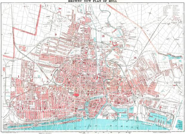 Hull (Kingston upon), city map (brown´s New Plan of Hull), 1923. Use the zooming tool to explore in higher level of detail. Obtain as a quality print or high resolution image