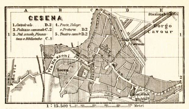 Cesena city map, 1909. Use the zooming tool to explore in higher level of detail. Obtain as a quality print or high resolution image