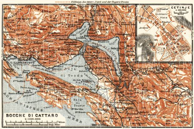 Cetinje city plan and map of environs of the Gulf of Kotor (Boka Kotorska), 1911. Use the zooming tool to explore in higher level of detail. Obtain as a quality print or high resolution image