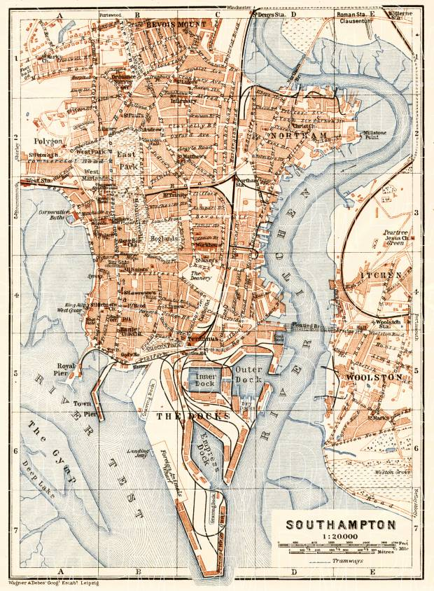 Old map of Southampton in 1906 Buy vintage map replica poster print