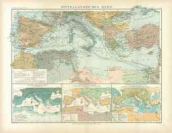 Map of the Mediterranean Sea and surrounding areas, 1905