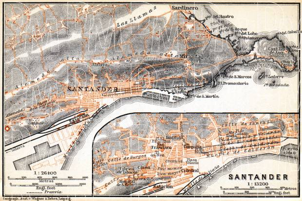 Santander town plan. Environs of Santander map, 1899. Use the zooming tool to explore in higher level of detail. Obtain as a quality print or high resolution image